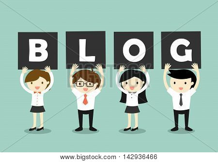 Business concept, business people holding the letters 'blog'. Vector illustration.
