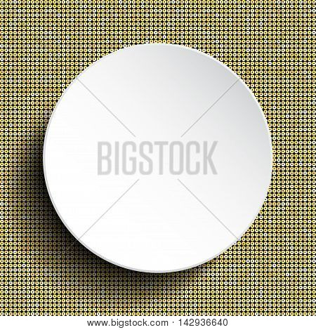 Vector white circle button on shiny gold paillettes background . Sparkle glitter background. Glittering sequins wall.
