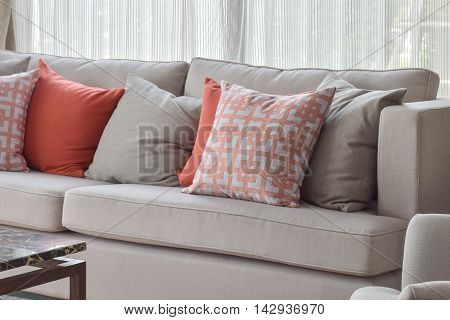Chinese Pattern Pillow, Red And Gray Pillows Setting On Light Gr