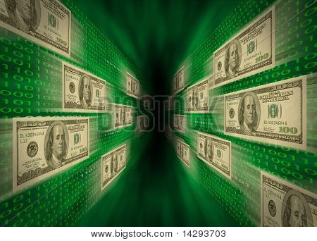 $100 Bills Flying Through A Green Vortex, With Walls Of Binary Code