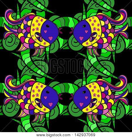 Seamless pattern with colorful fish on black background. Vector illustration.
