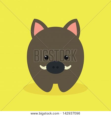 Cute cartoon wild pig on a yellow background