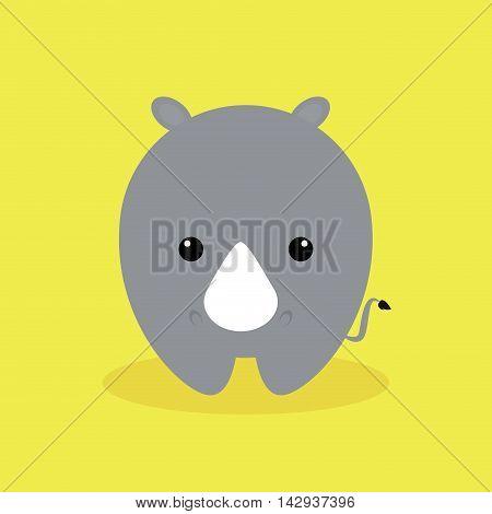 Cute cartoon rhino on a yellow background