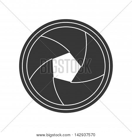 zoom lens shutter camera photography gadget silhouette vector illustration isolated