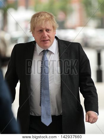 LONDON ,UK, JUNE 5, 2016: Boris Johnson attends the BBC Andrew Marr show picture taken from the street