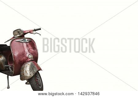 vintage motorbike for home decor on white background