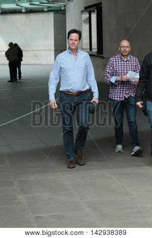 LONDON, UK, JUNE 5, 2016: Nick Clegg seen leaving the BBC studios picture taken from the street