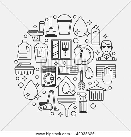House cleaning round illustration. Vector cleaning service sign in thin line style