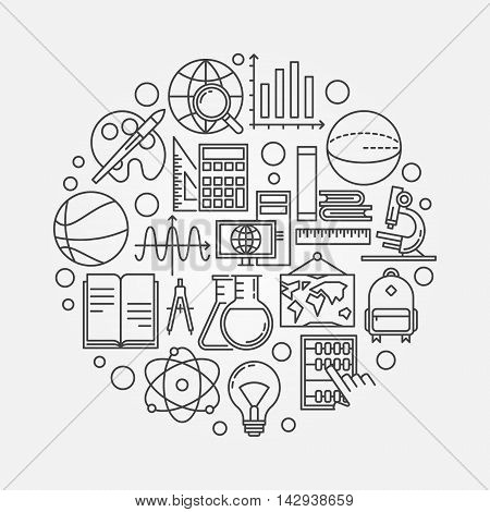 Study and learning round illustration. Vector back to school outline concept symbol made with icons of school subjects. Education creative background