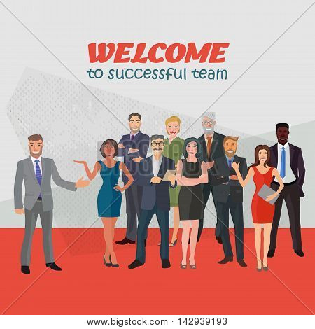 group of modern positive business people standing frontal in abstract space