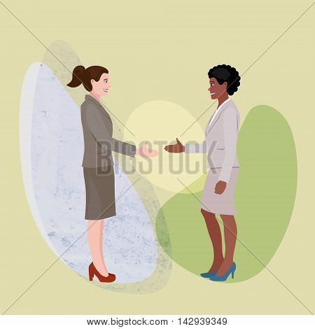 stylized conceptual illustration with two women shaking hands