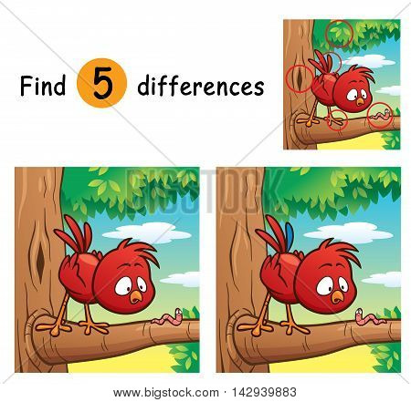 Vector Illustration of Game for children find differences - Bird