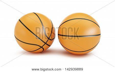 Orange Basketball ball on a white background 3d Illustrations