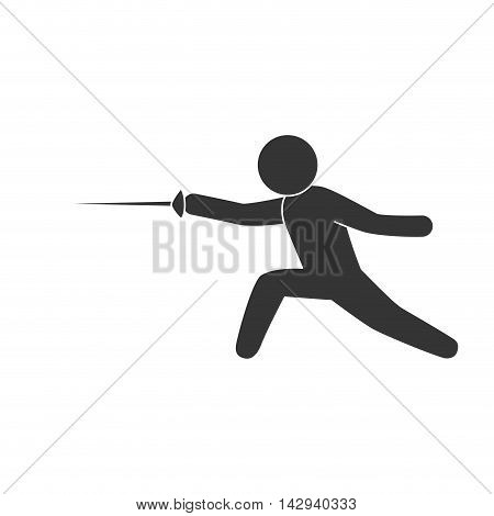 fencing sport exercise  man vector illustration isolated