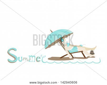Hand drawing lettering text Summer. Girl with headphones listening to music with a cocktail and sit in a deck chair. Relaxation and recreation. Under turquoise umbrella. Vector illustration, isolate.stration, isolate.