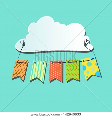 Colored flags for a holiday tied to the cloud on a blue background. Vector illust