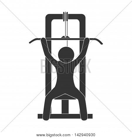 man gym equipment weight training sport fitness machine vector illustration isolated