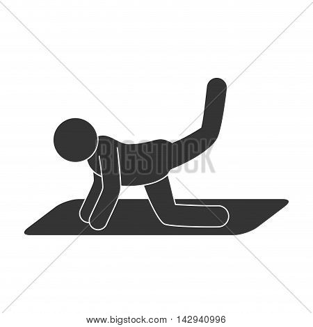 stretching man exercise gym fitness training sport vector illustration isolated