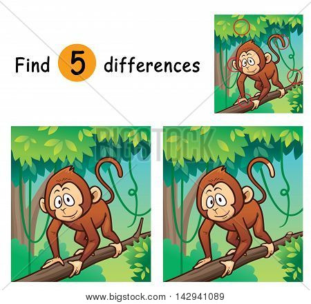 Vector Illustration of Game for children find differences - Monkey