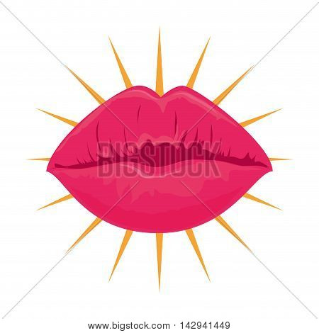 lips kiss sexy pink shine bright mouth girl lady vector illustration isolated