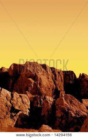 Red Cliffs On The Planet Mars