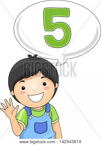 Illustration of a Little Boy Gesturing the Number 5