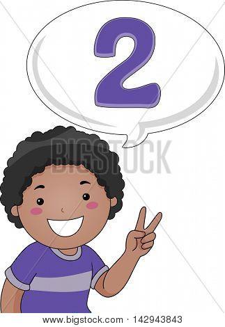 Illustration of a Little Boy Gesturing the Number 2