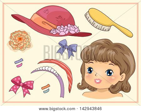 Illustration of a Paper Doll Pack Featuring a Girl with Vintage Accessories