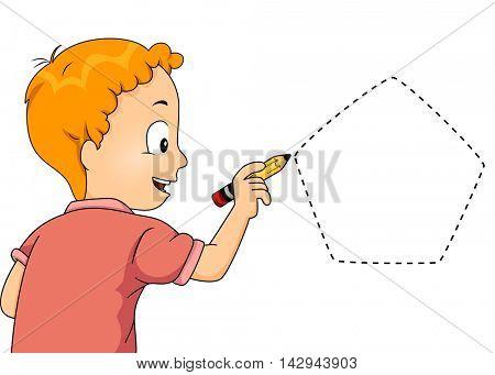 Illustration of a Little Boy Drawing a Pentagon