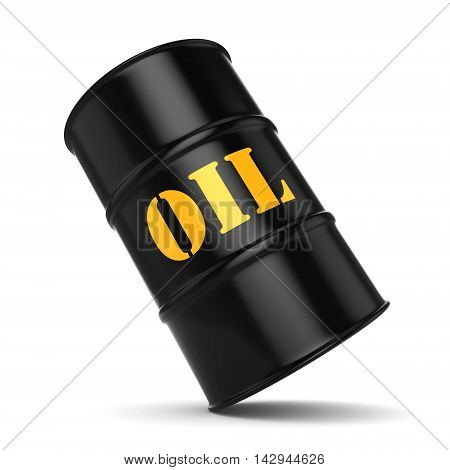 3D Rendering Black Oil Barrel