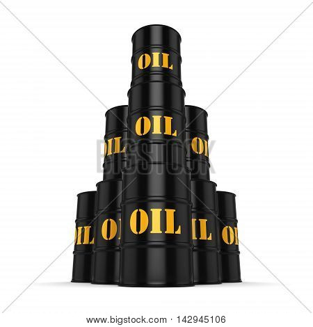 3D Rendering Black Oil Barrels