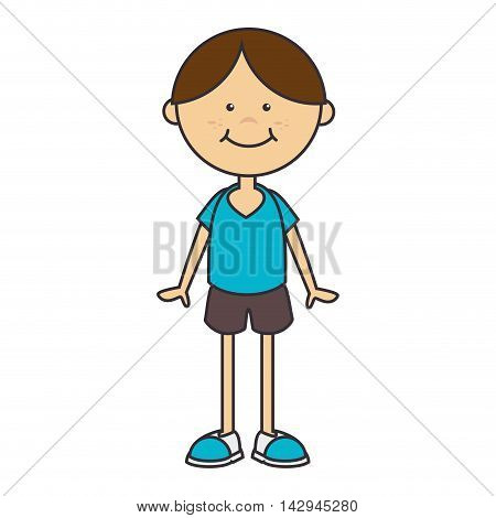 boy face smiling smile male kid child cartoon body vector illustration isolated