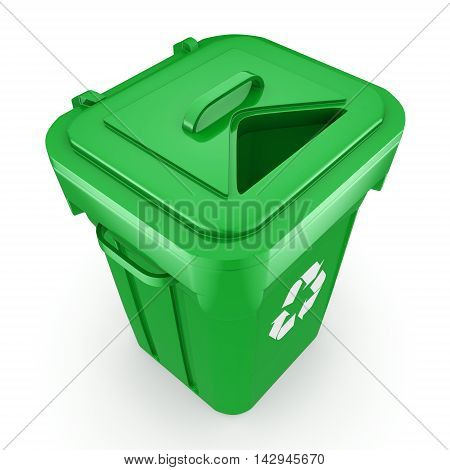 3D Rendering Green Recycling Bin