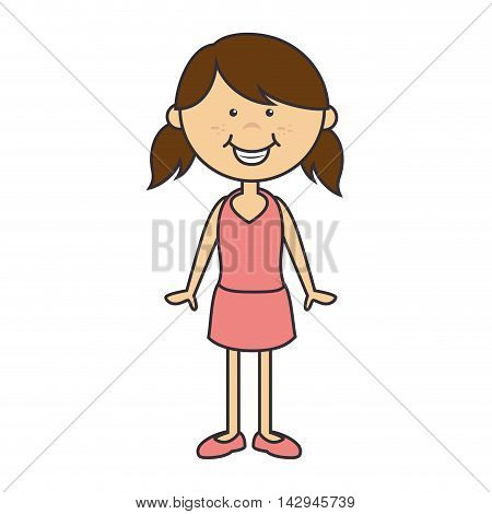 girl cute cartoon female kid dress child smile body vector illustration isolated
