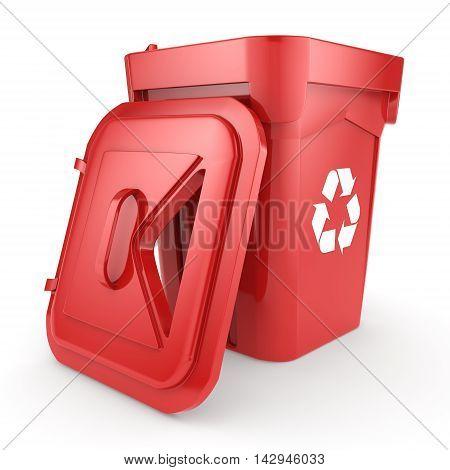 3D Rendering Red Recycling Bin