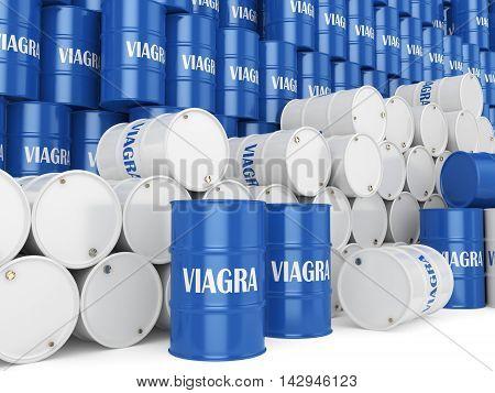 3D Rendering Many Barrels Viagra