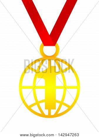 First place in the world medal on red ribbon isolated on white