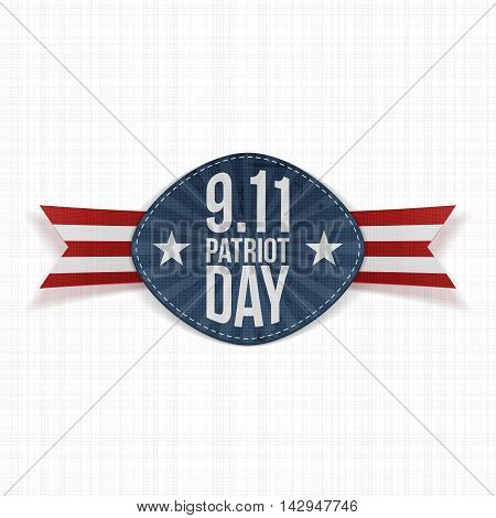 Patriot Day 9-11 Label with Ribbon. Vector Illustration