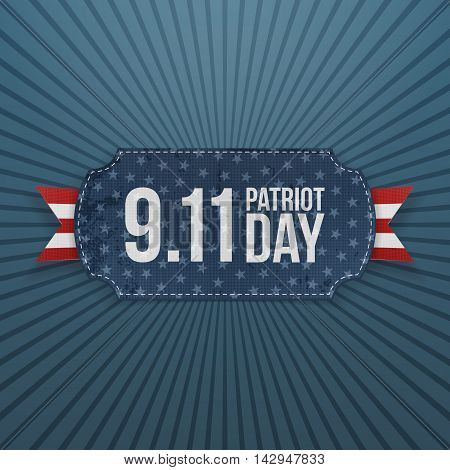 Patriot Day 9-11 realistic Badge. Vector Illustration