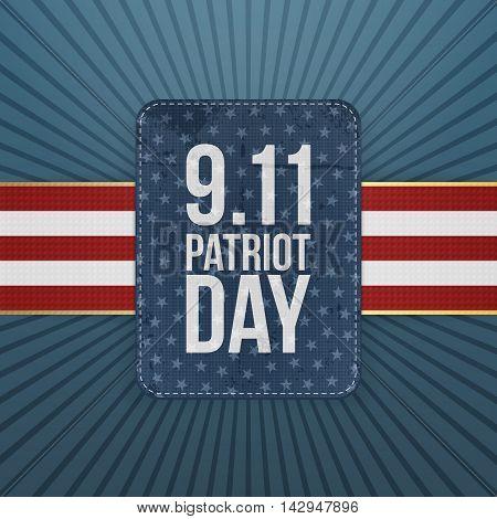 Patriot Day festive paper Badge. Vector Illustration