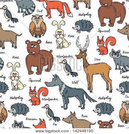 Vector seamless pattern with hand drawn colored forest animals on white background. Pattern for use in design