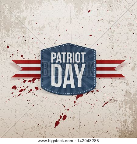 Patriot Day realistic Tag with Ribbon. Vector Illustration