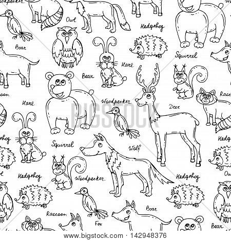 Vector seamless pattern with hand drawn forest animals on white background. Pattern on the theme of wildlife nature. Background for use in design packing web site fabric