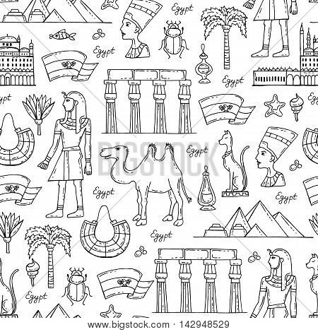 Vector seamless pattern with hand drawn symbols of Egypt on white color. Pattern on the theme of travel and tourism. Background for use in design, packing ,web site, fabric