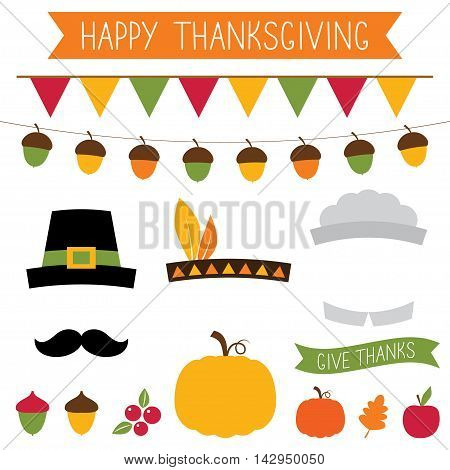 Thanksgiving photo booth props set and decoration