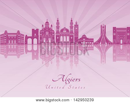 Algiers skyline in purple radiant orchid in editable vector file