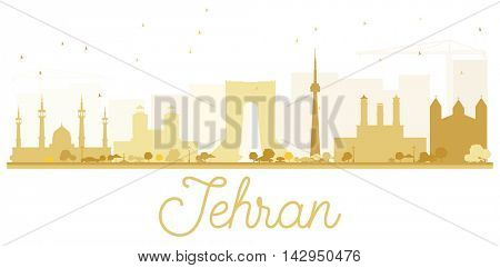 Tehran City skyline golden silhouette. Simple flat concept for tourism presentation, banner, placard or web site. Business travel concept. Cityscape with landmarks