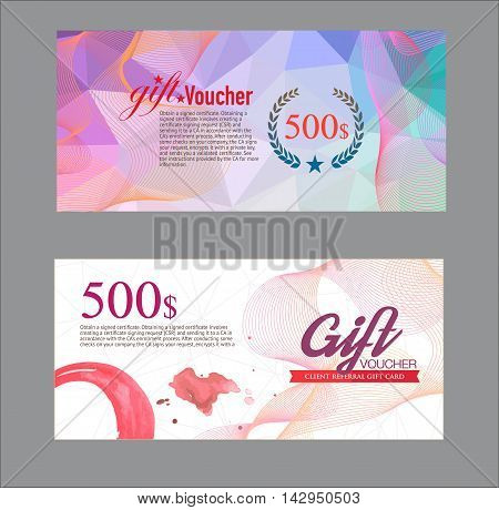 Voucher template with premium vintage pattern. voucher certificate.