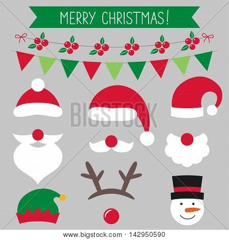 Christmas photo booth props, Santa hats and decoration