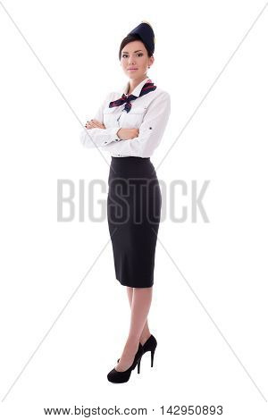 Full Length Portrait Of Young Beautiful Stewardess Isolated On White